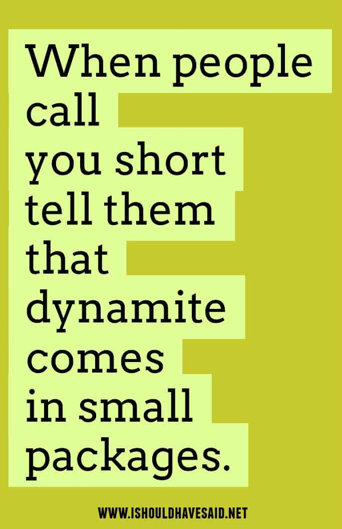 Use this great comeback when someone calls you short. Check out more great comebacks when you are called short. | www.ishouldhavesaid.net