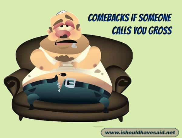 Funny comebacks when someone calls you gross. Check out our top ten comeback lists. www.ishouldhavesaid.net