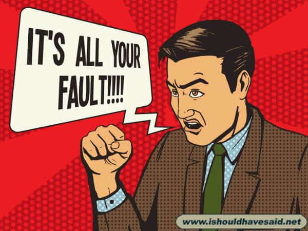 Great comebacks to use on someone who blames you for something you didn't do. . Check out our top ten comeback lists www.ishouldhavesaid.net.
