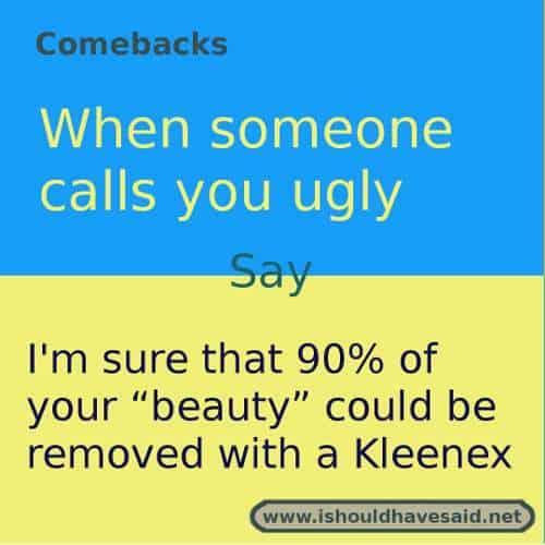 comebacks when someone calls you ugly | I should have said
