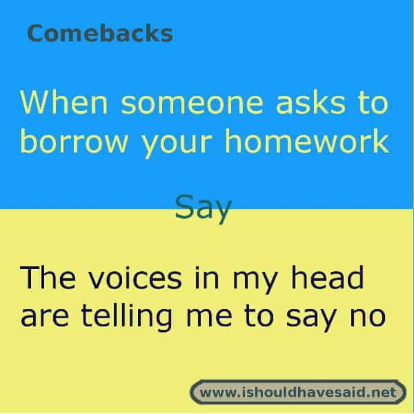 Comebacks If Someone Asks To Borrow Your Homework I Should Have Said