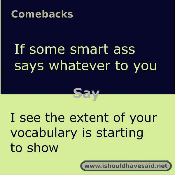 Use these snappy comebacks when someone says whatever. Check out our top ten comeback lists. https://ishouldhavesaid.net