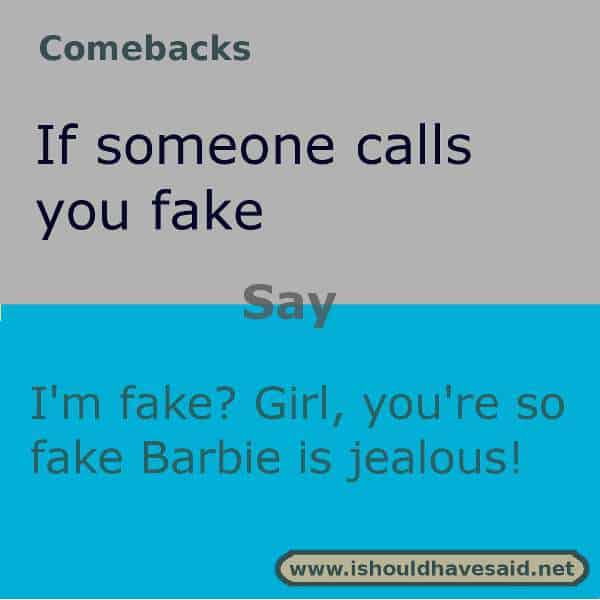 Use these snappy comebacks when someone calls you fake Check out our top ten comeback lists. https://ishouldhavesaid.net