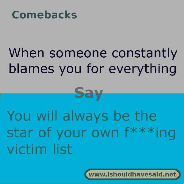 Clever responses when somebody blames you for something. Check out our top ten comeback lists. https://ishouldhavesaid.net