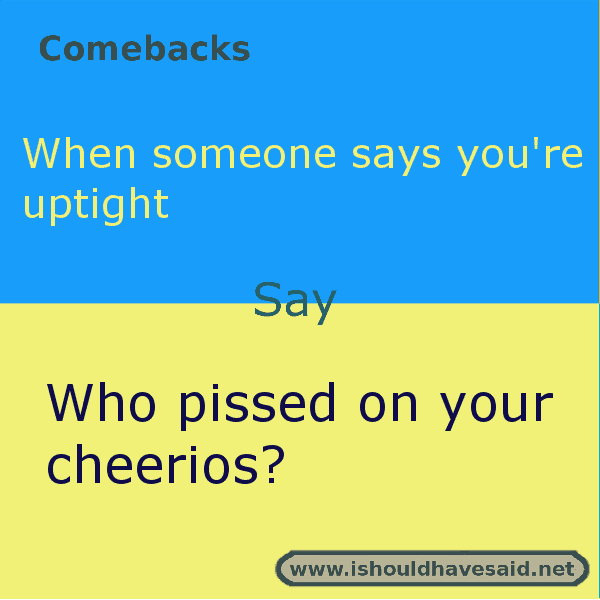 Use our great comebacks when somebody calls you uptight. Check out our top ten comeback lists at www.ishouldhavenet.net.