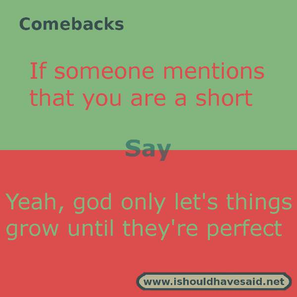 Use our great comebacks when someone calls you short. Check out our top ten comeback lists. www.ishouldhavesaid.net