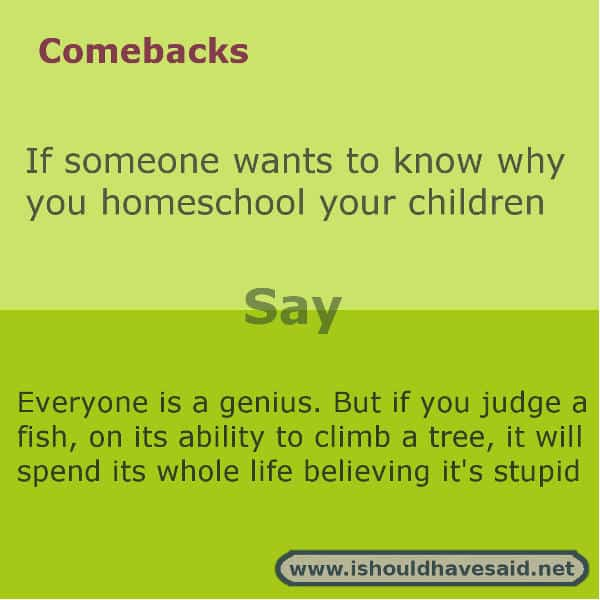 When people ask you why you home school your kids, use one of our clever comebacks below. Check out our top ten comeback lists. www.ishouldhavesaid.net.