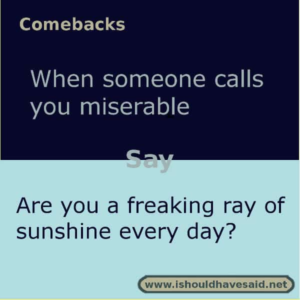 When people call you miserable use one of our clever comebacks. Check out our top ten comeback lists. www.ishouldhavesaid.net.