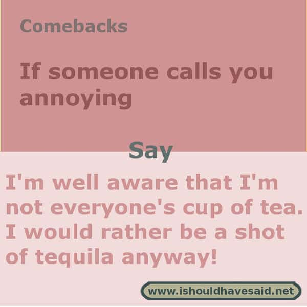 When people call you annoying, shut them up with one of our clever comebacks. Check out our top ten comeback lists. www.ishouldhavesaid.net.