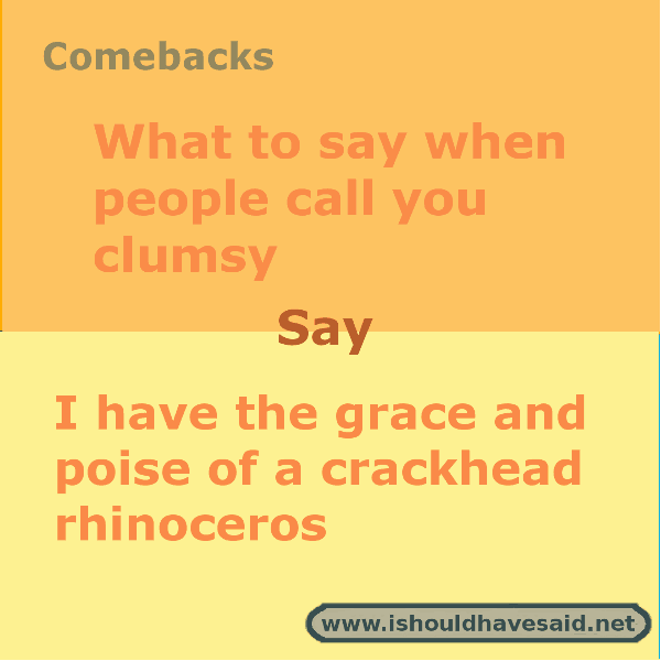 When people call you clumsy use one of our clever comebacks. Check out our top ten comeback lists. www.ishouldhavesaid.net.