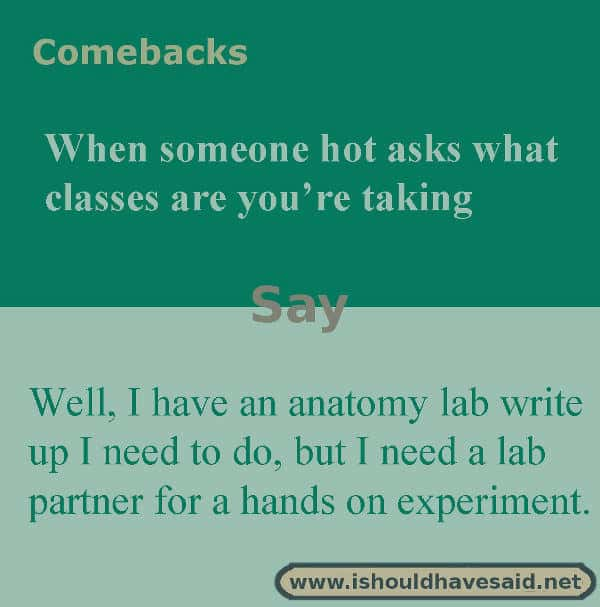 When people what classes you are taking, make them laugh with one of our clever comebacks. Check out our top ten comeback lists. www.ishouldhavesaid.net.