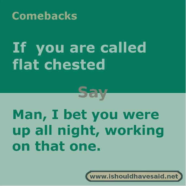 What to say if someone calls you flat chested, use one of our clever comebacks. Check out our top ten lists www.ishouldhavesaid.net.